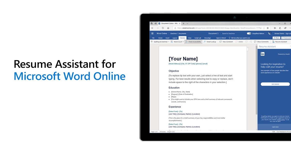 linkedin u0026 39 s resume assistant now available to word online