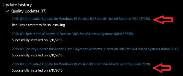 September Cumulative Update KB4457128 also having installation issues on Windows 10 1