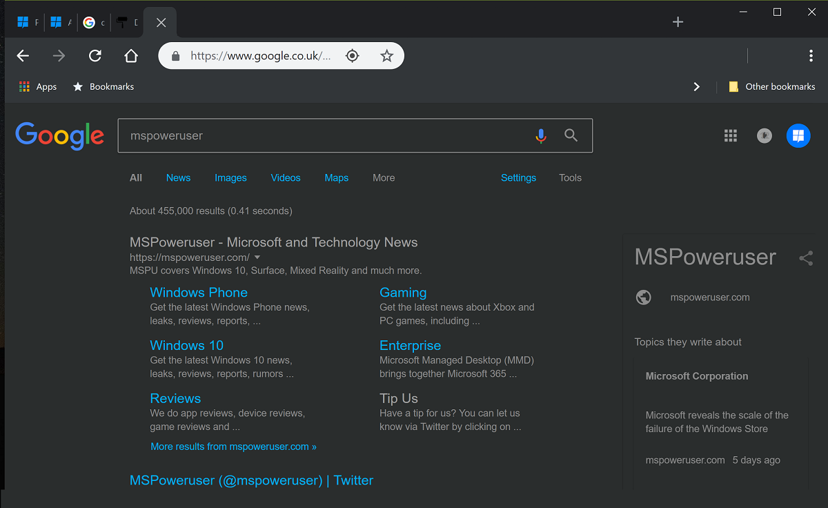 Tip: Download a Dark Theme designed for Chrome 69 - MSPoweruser