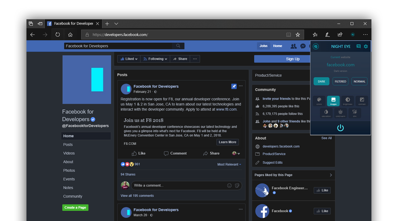 Night Eye for Edge extension brings Dark Mode to any website