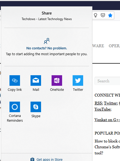 Firefox adds support for the native Windows 10 Share dialogue