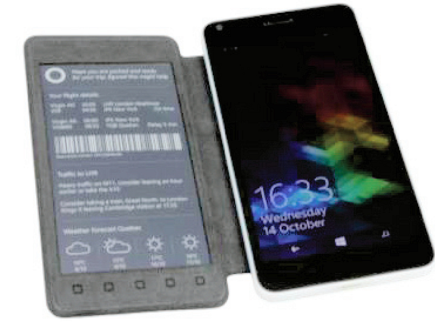 It's October 2018 and Microsoft Research has shown off a Lumia 640 with e-ink Display Cover 1