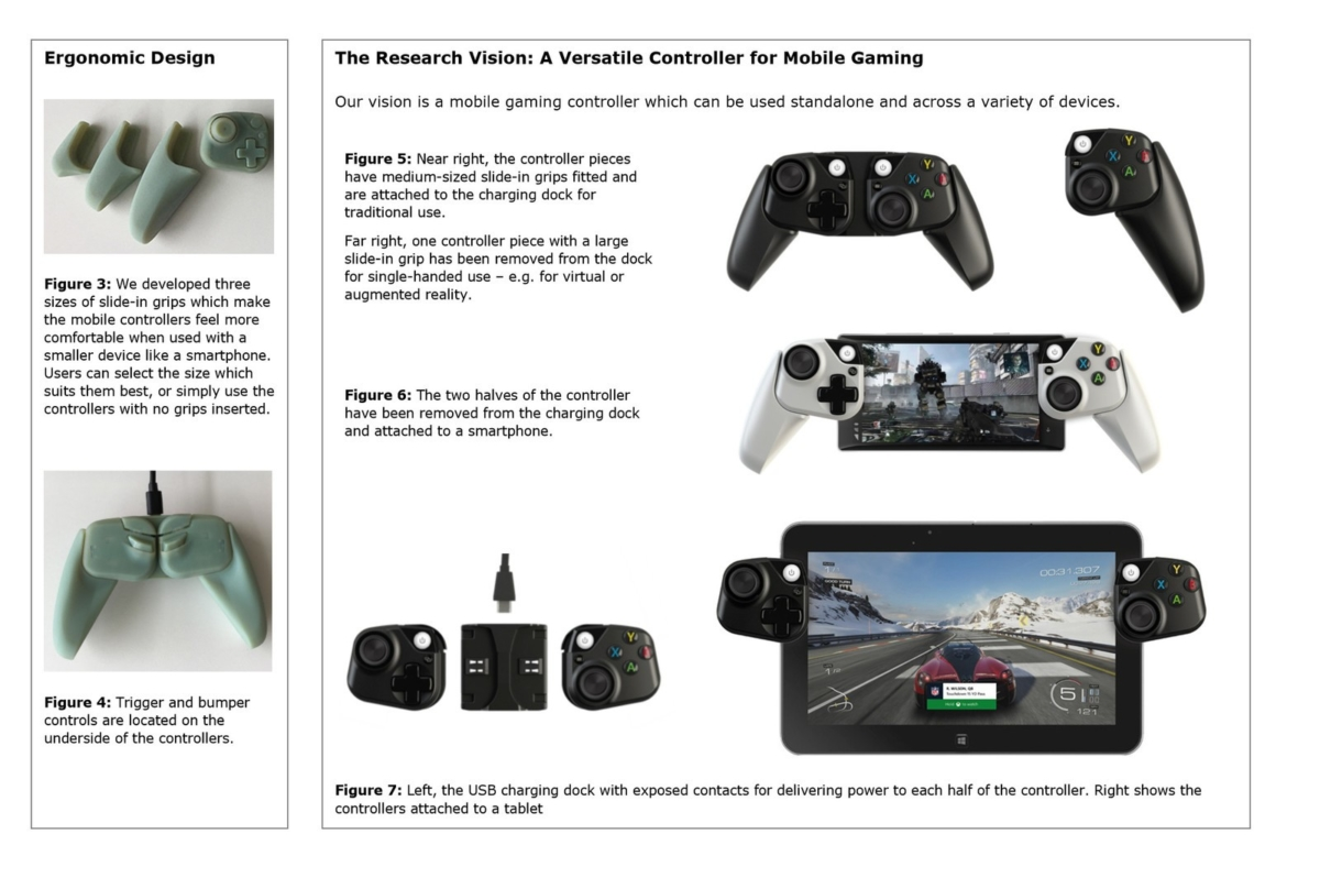 Microsoft Prototyping Xbox Controllers For Use With Mobile Devices Joystick It Gaming Smartphone Pad Tab Tablet Or Other Allowing You To Hold Steady While Play The Two Halves Can Also Be Attached A Charging Dock Which Attaches