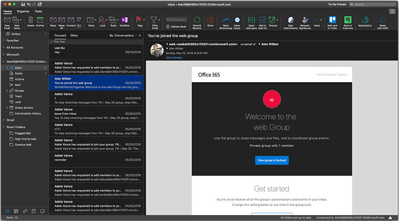 Outlook for Mac brings support for Dark Mode for users on