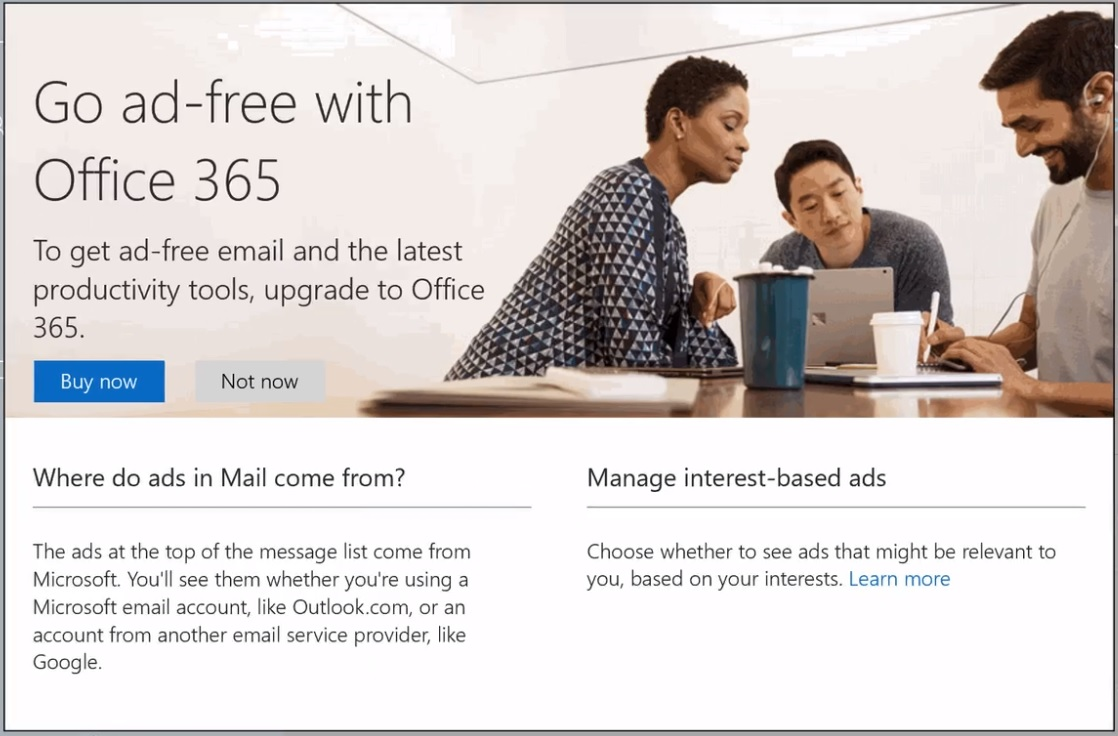 Microsoft activates banner ads in Outlook Mobile 1