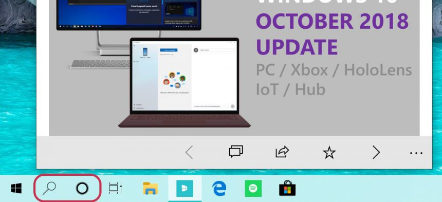 Microsoft introduces separate search and Cortana options on