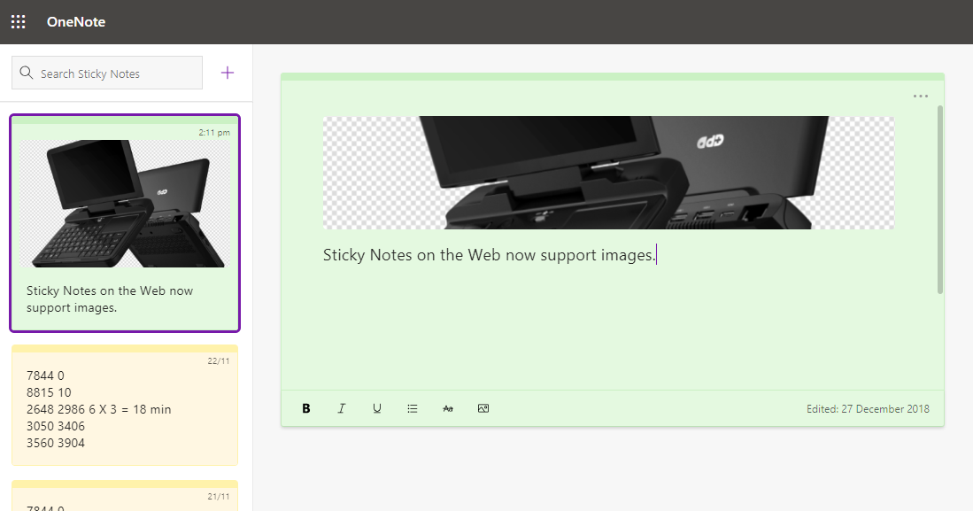 Sticky Notes on the Web now supports pictures - MSPoweruser