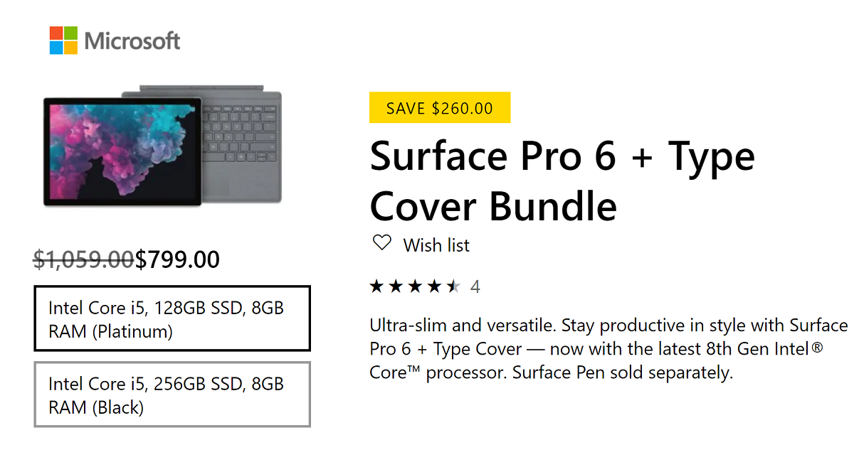 Deal Alert: Today only save $260 on the Surface Pro 6 + Type