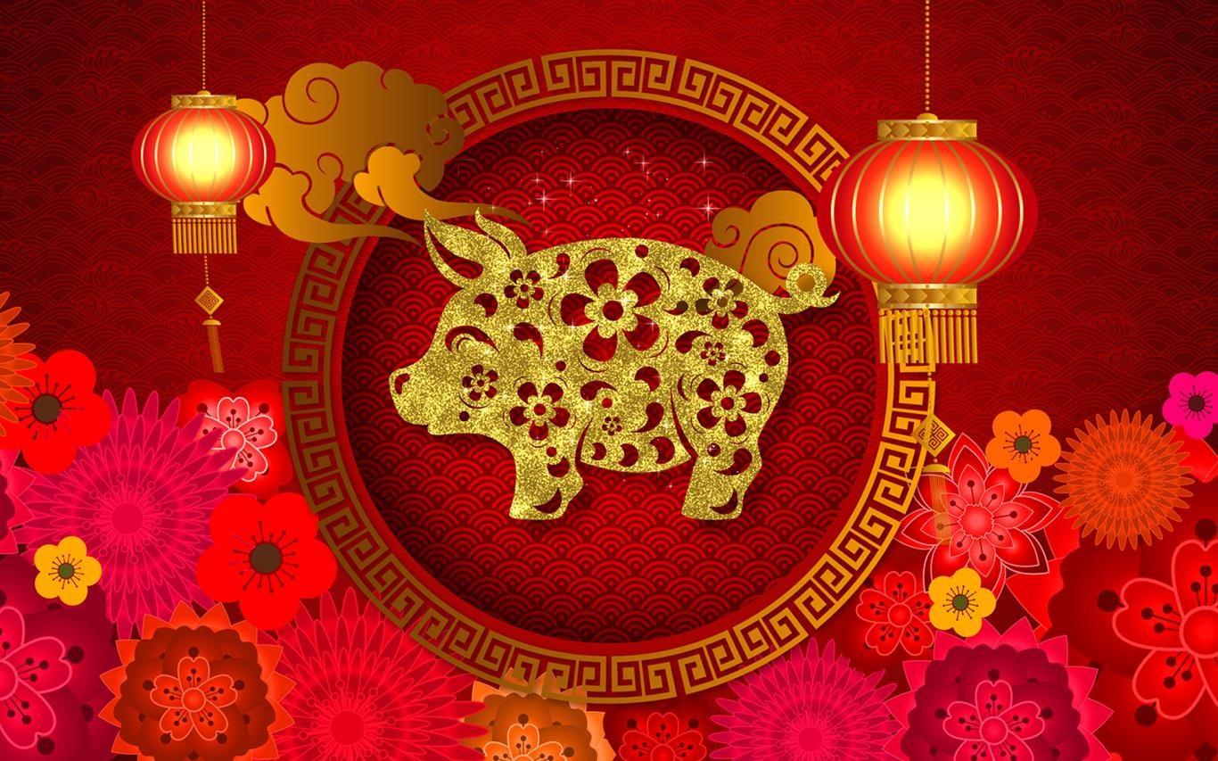 to celebrate the chinese new year microsoft has released a new pack of free wallpapers with a chinese year of the pig theme