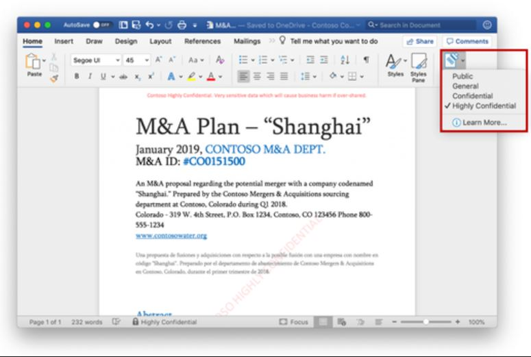 QnA VBage Users can now apply sensitivity labels to documents and emails with latest Office apps