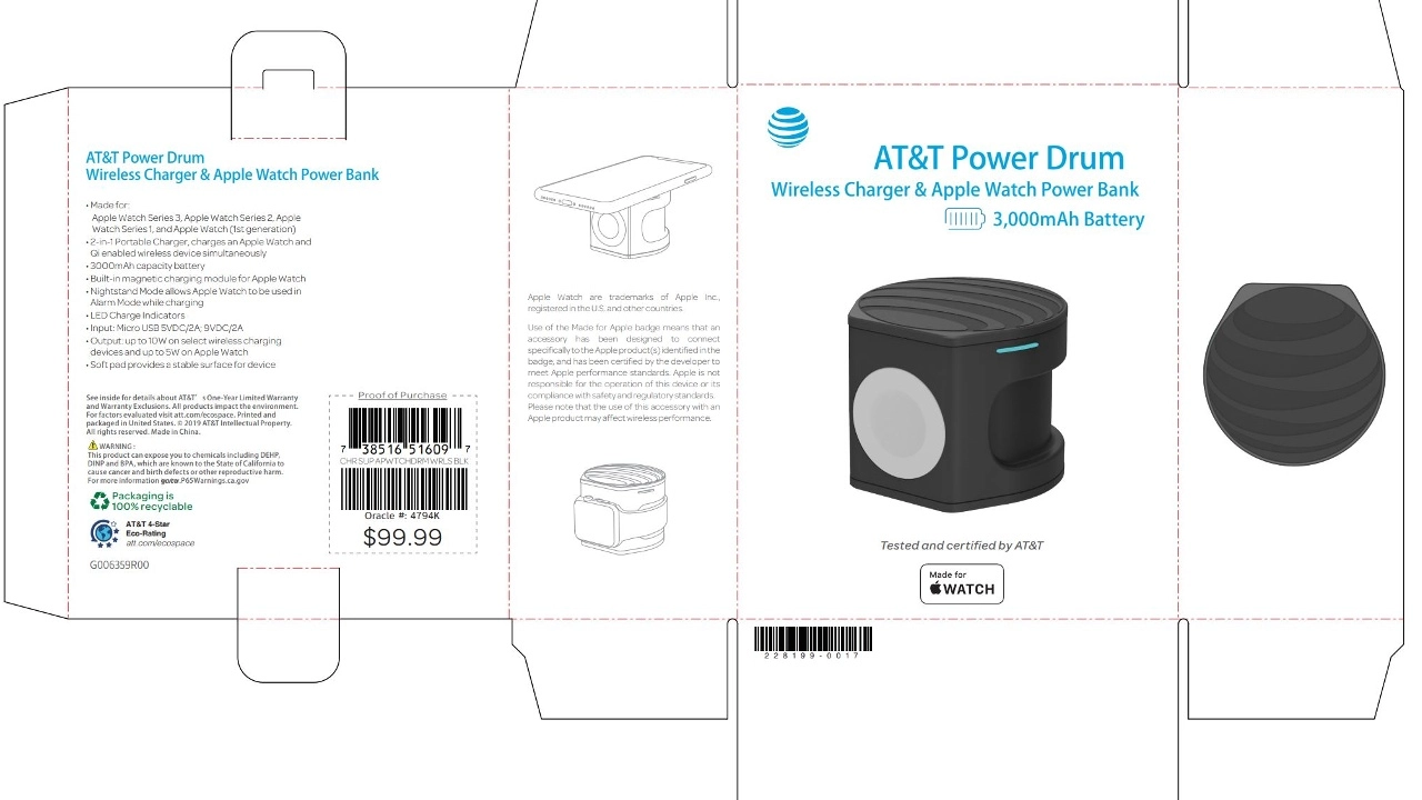 AT&T's Power Drum portable wireless charger is not just for iPhone