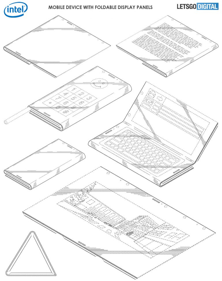 Intel patent shows a tri-folding device with three screens