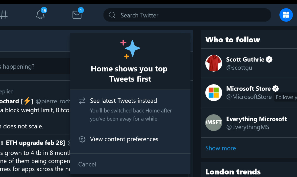 Twitter PWA for Windows 10 updated with latest Tweets button