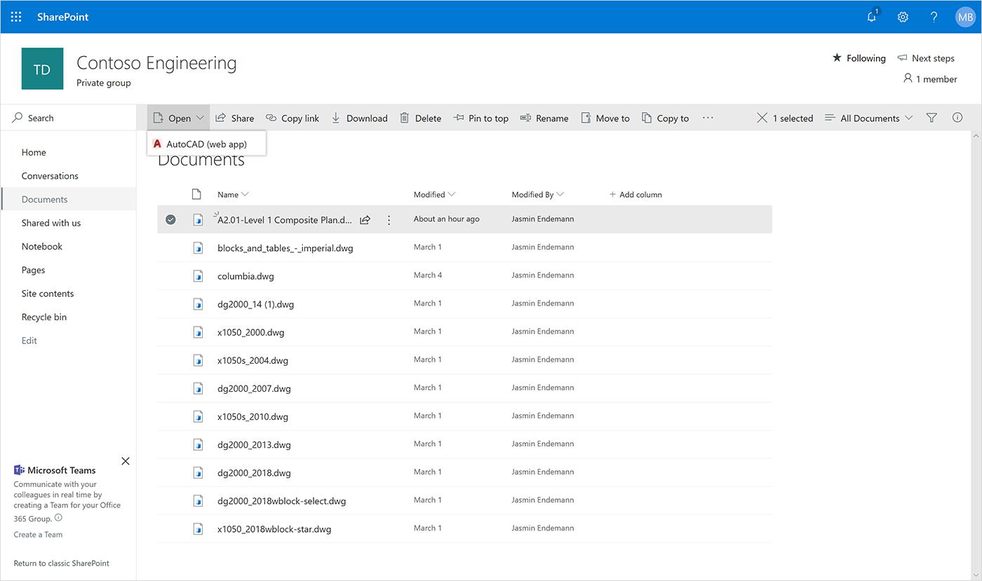 Microsoft announces Autodesk AutoCAD integration in OneDrive