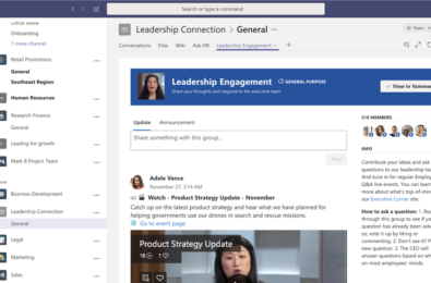 Microsoft Teams users can now add a Yammer tab to their Teams channel 17