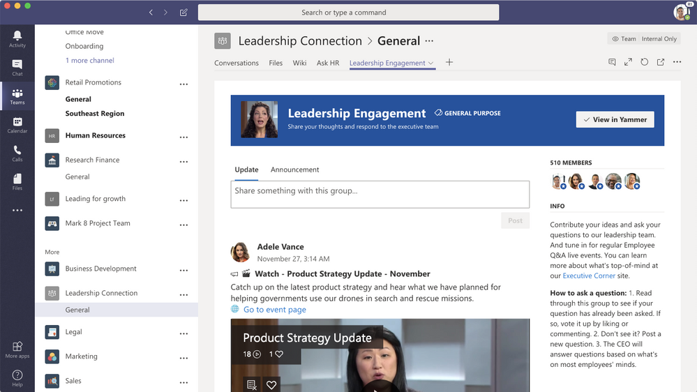Microsoft Teams users can now add a Yammer tab to their Teams channel 1