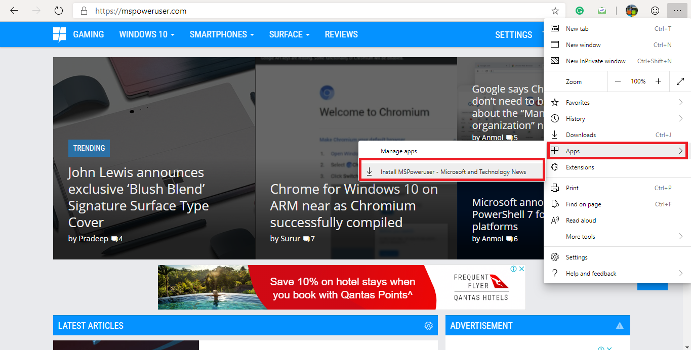 Chromium-based Microsoft Edge allows users to install PWAs