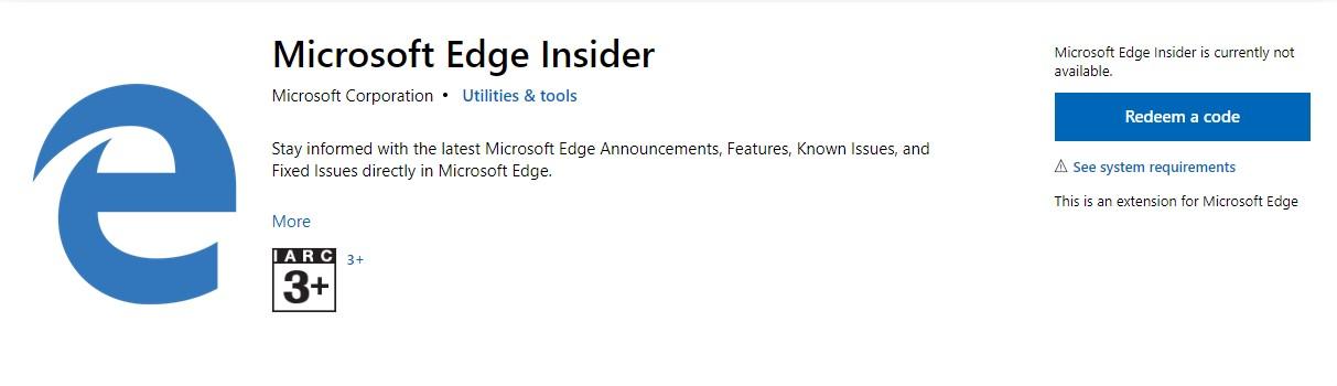 Microsoft puts Edge Insider Extension into cold storage, no longer