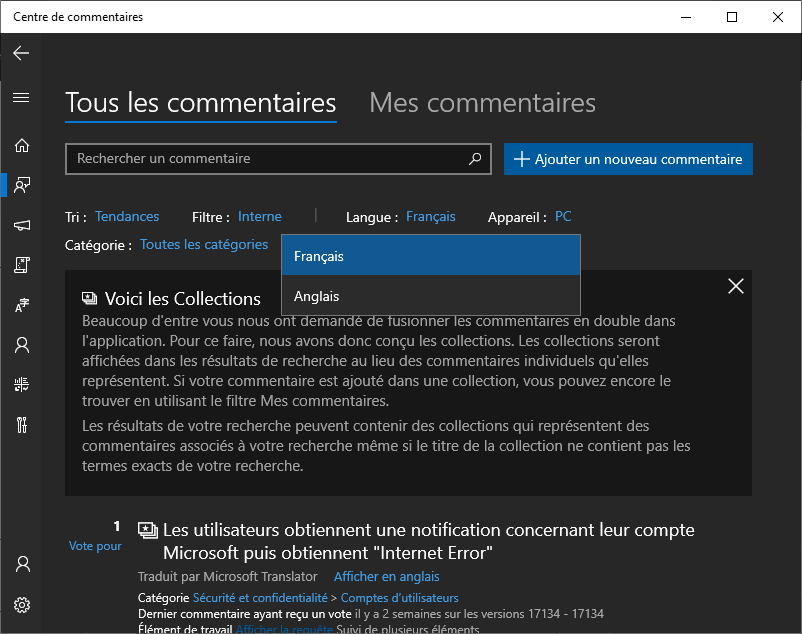 Microsoft updates Feedback Hub with Language Switcher 1