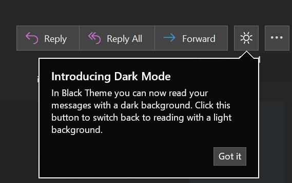 Dark Mode finally hits the Reading Pane in Office 2019