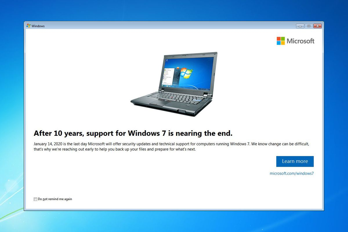Microsoft starts notifying Windows 7 users that it's time to buy a new PC 1