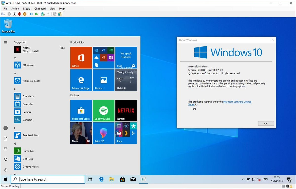 Microsoft release Windows 10 20H1 Insider Preview Build