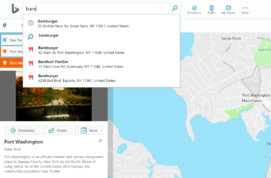 Bing Maps can now offer search suggestions based on your recent searches 9