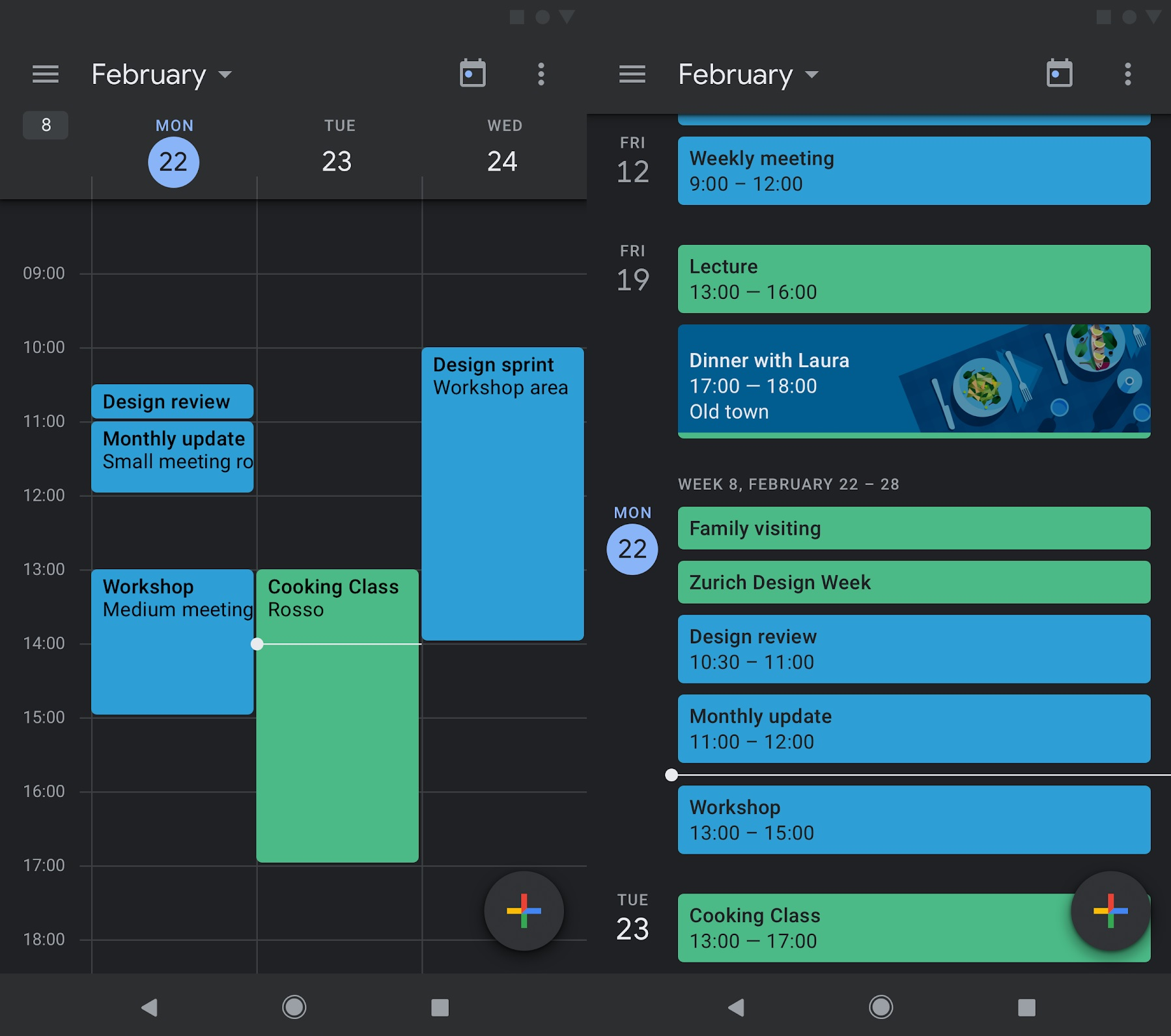 Google Calendar and Google Keep get dark mode on Android