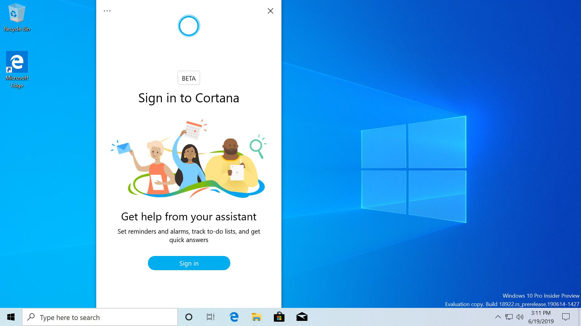 New Cortana UI, ability to rename Virtual Desktops and more