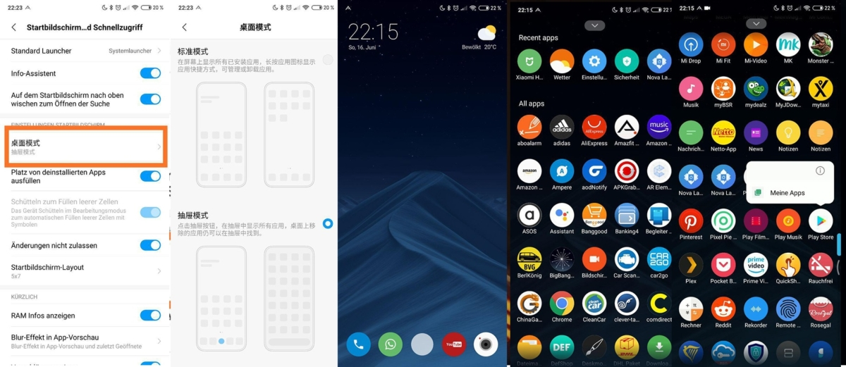 An image of the new Xiaomi MIUI app drawer