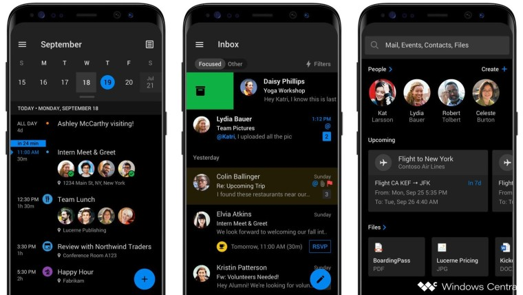 This is Outlook for Android's upcoming new dark mode