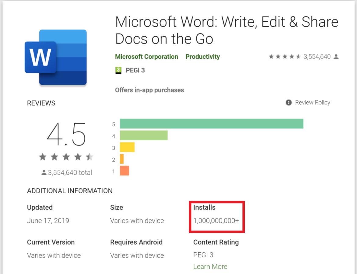Wow! Microsoft Word Telah Diunduh 1 Miliar Kali di Android