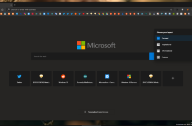 Microsoft's Edge Canary gets the Dark Mode in the New Tab Page 1