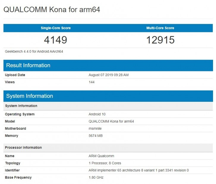 Snapdragon 865 Geekbench listing seems to have appeared