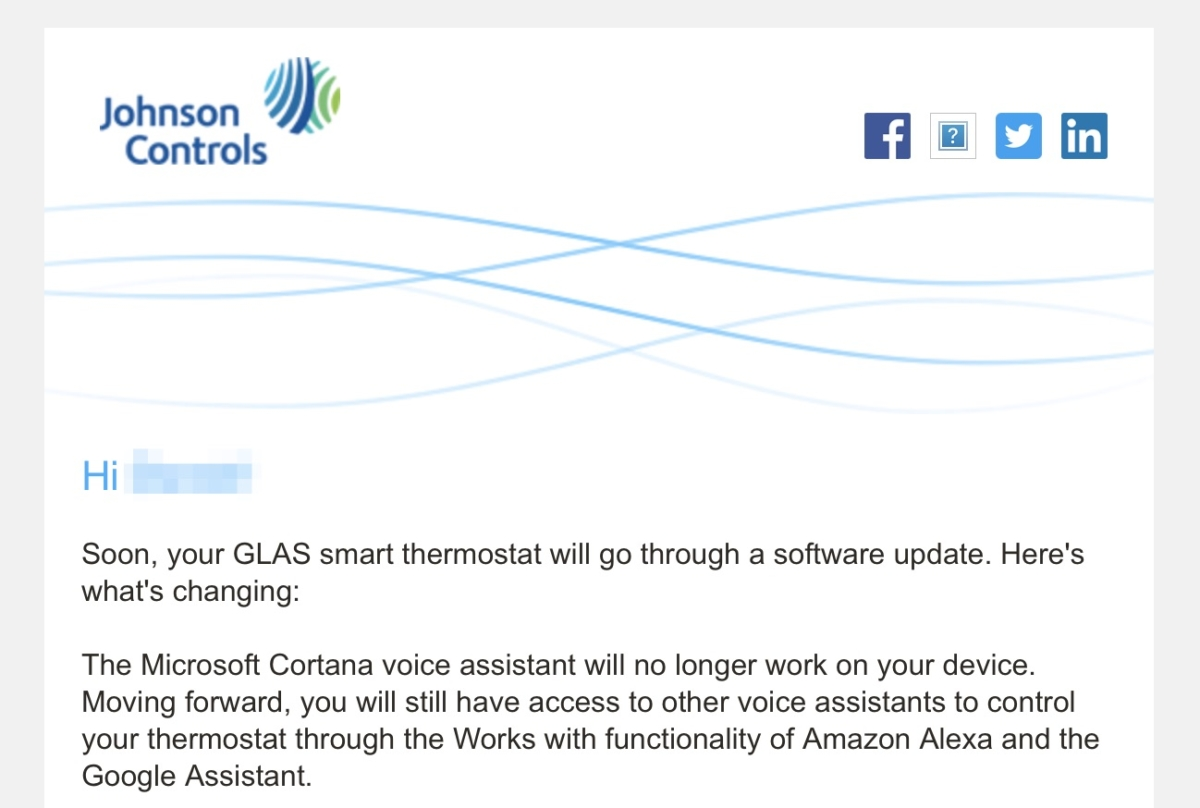 Johnson Control drops Cortana from their Smart Thermostat 1