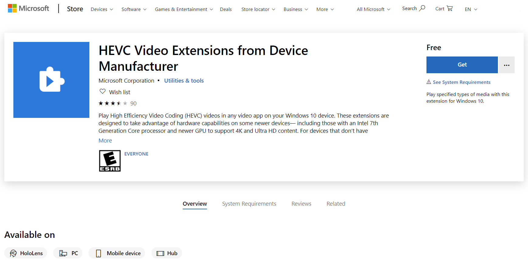 Here's how you can get the HEVC codec from Microsoft Store for free 1