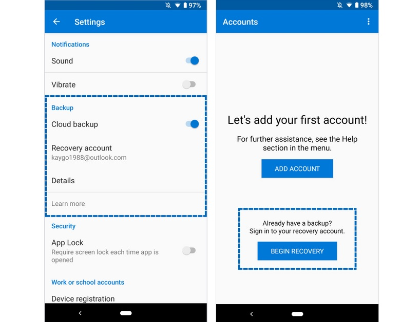 Microsoft Authenticator app on Android now supports cloud