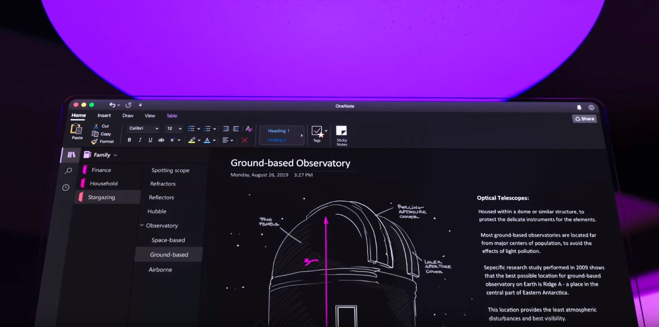 Microsoft rolling out Dark Mode for OneNote app on Mac