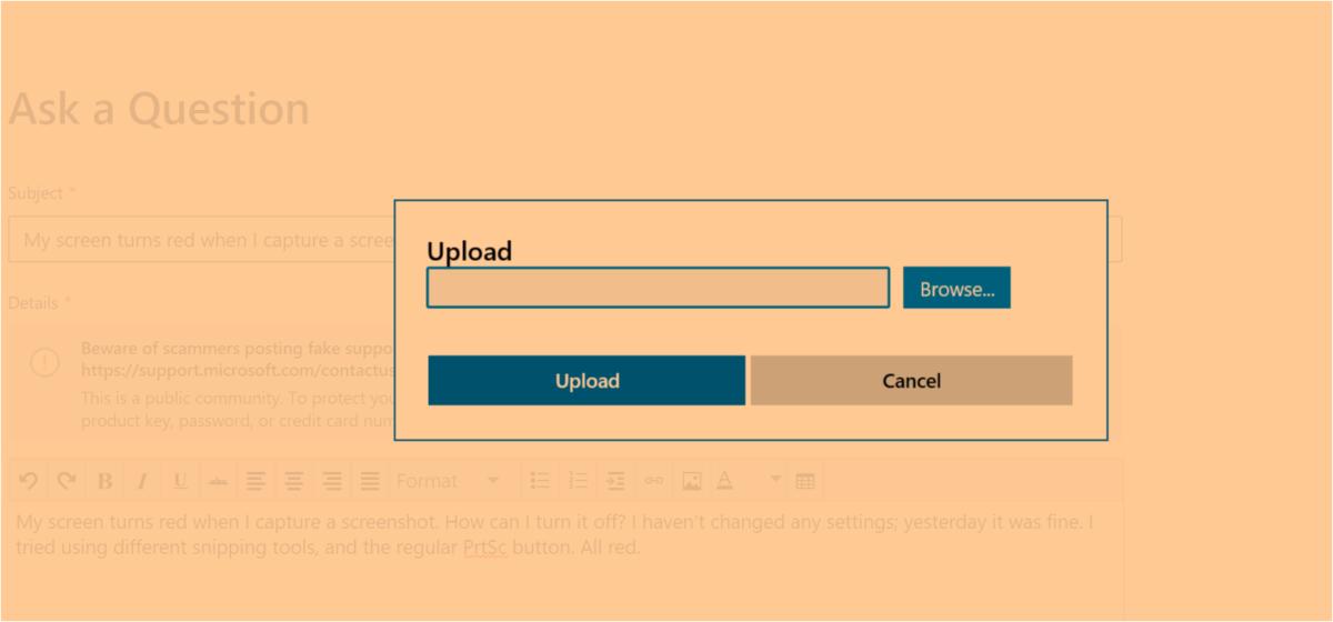 Cumulative Update KB4512941 delivers bizarre new orange screenshots bug 1