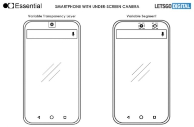 New patent talks about an Essential phone with in-display front camera 2