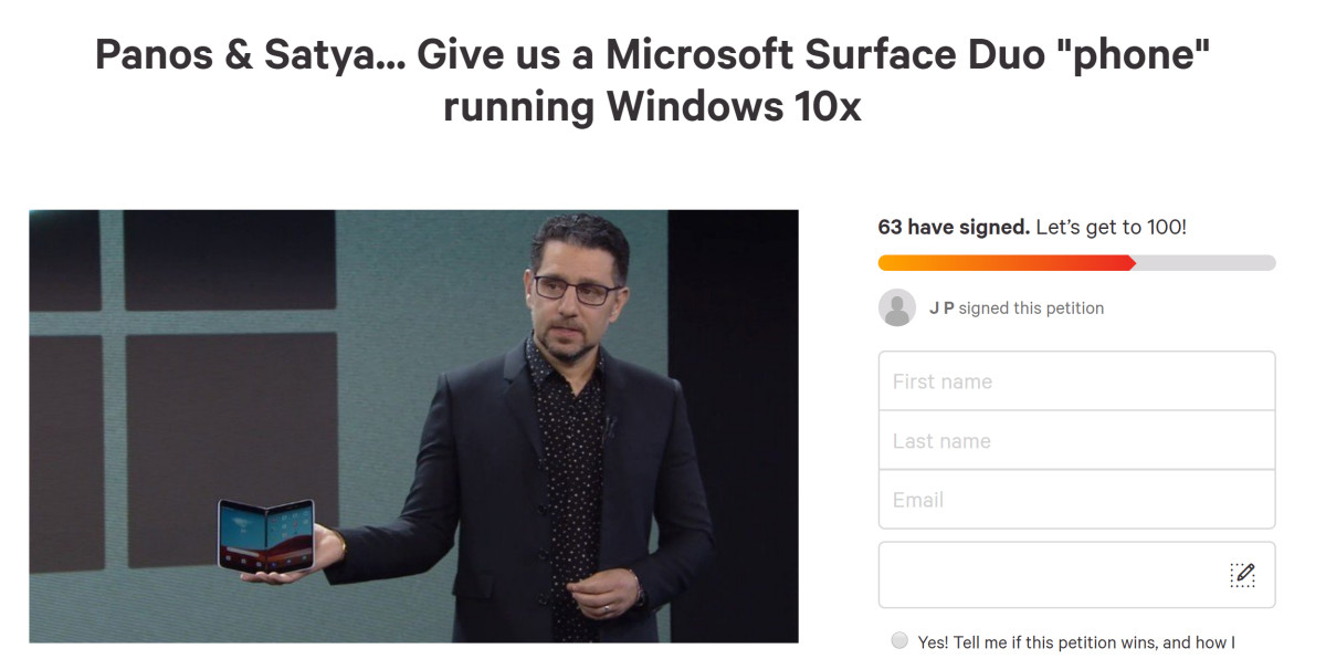 Change.org Petition to get Windows 10X on the Surface Duo fails to generate much support