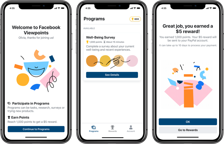 Facebook's new Viewpoints app will pay you for taking surveys 1