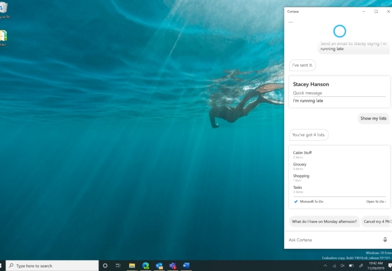 Cortana as a productivity aid