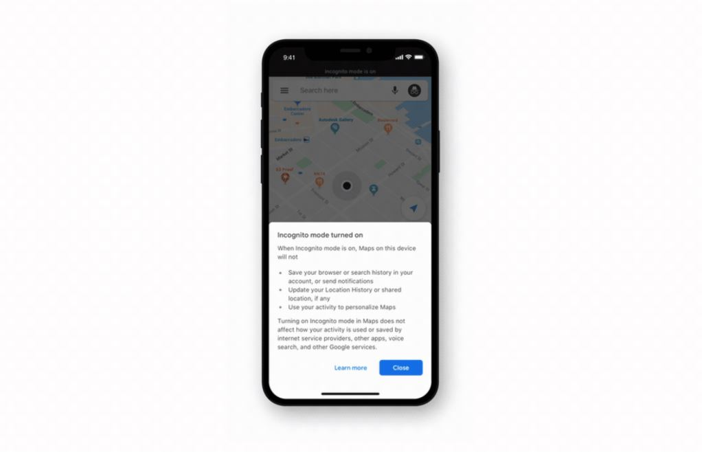 Google Maps for iOS now supports Incognito mode