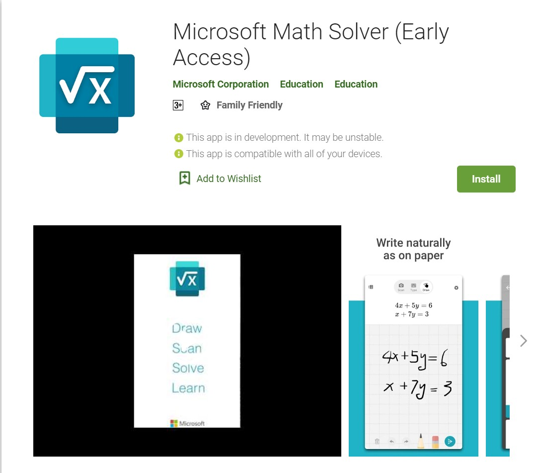 Microsoft Math Solver app is now available on Google Play Store