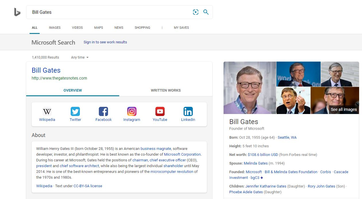 Bill Gates Bing Pages search