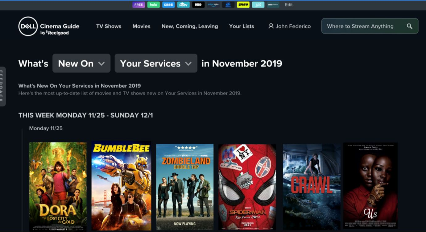 New Dell Cinema Guide app allows you to search for content across streaming services 1