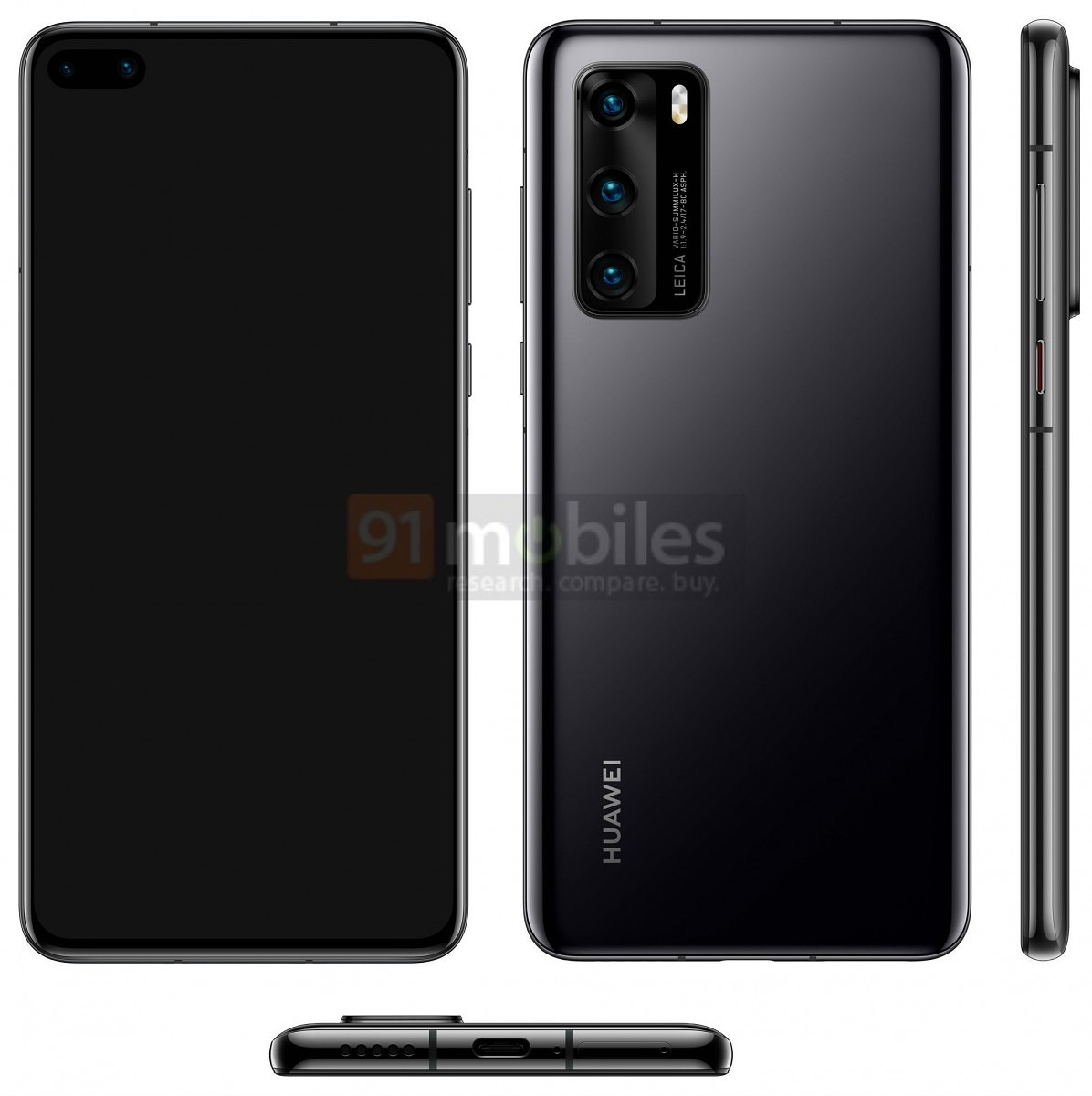 Huawei P40 smartphone to feature a dual punch camera, triple rear camera, suggests leaked render 1