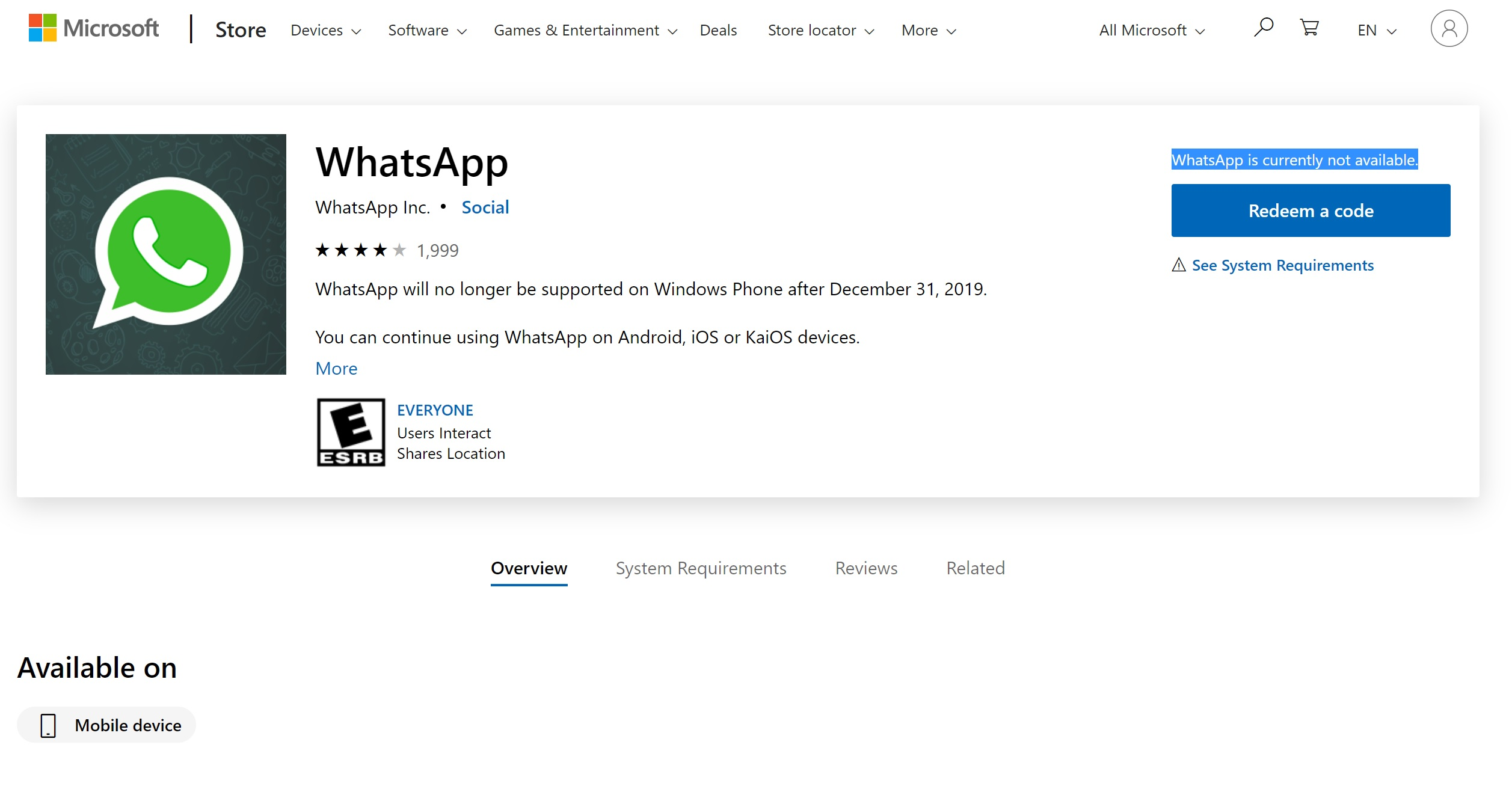 WhatsApp removes its Windows Phone app from the Microsoft Store 1