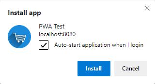 pwa dialog with auto start app when I login checked